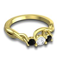 Diamond Petite Vitana Ring with Black Onyx in 18k Yellow Gold