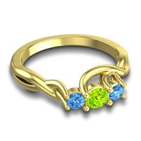 Peridot Petite Vitana Ring with Swiss Blue Topaz in 18k Yellow Gold