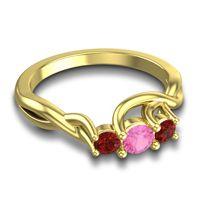 Pink Tourmaline Petite Vitana Ring with Garnet in 14k Yellow Gold