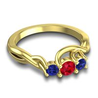 Petite Vitana Ruby Ring with Blue Sapphire in 14k Yellow Gold