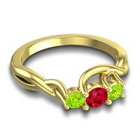 Petite Vitana Ruby Ring with Peridot in 18k Yellow Gold
