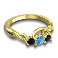 Swiss Blue Topaz Petite Vitana Ring with Black Onyx in 18k Yellow Gold