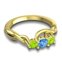 Swiss Blue Topaz Petite Vitana Ring with Peridot in 18k Yellow Gold