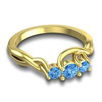 Swiss Blue Topaz Petite Vitana Ring in 18k Yellow Gold
