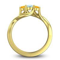 Aquamarine Petite Vitana Ring with Citrine in 18k Yellow Gold