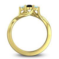 Black Onyx Petite Vitana Ring with Aquamarine in 18k Yellow Gold