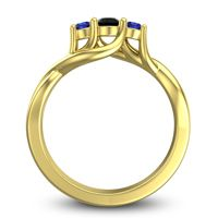 Black Onyx Petite Vitana Ring with Blue Sapphire in 14k Yellow Gold