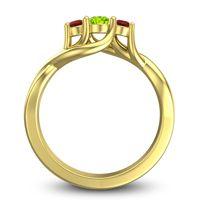 Peridot Petite Vitana Ring with Garnet in 14k Yellow Gold