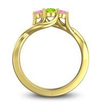 Peridot Petite Vitana Ring with Pink Tourmaline in 14k Yellow Gold