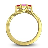 Pink Tourmaline Petite Vitana Ring with Ruby in 18k Yellow Gold