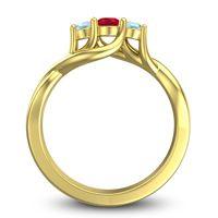 Ruby Petite Vitana Ring with Aquamarine in 14k Yellow Gold