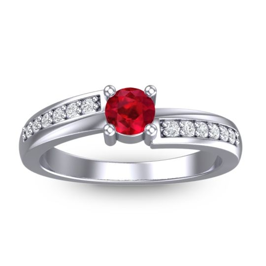 Petite Pave Sura Ruby Ring with Diamond in 14k White Gold