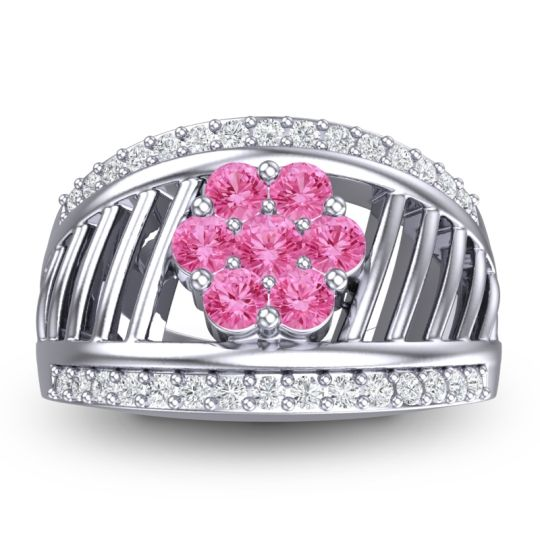 Statement Floral Pave Japa Pink Tourmaline Ring with Diamond in 14k White Gold