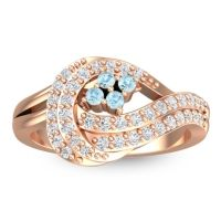 Statement Pave Caitya Aquamarine Ring with Diamond in 14K Rose Gold
