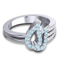 Statement Pave Rana Aquamarine Ring with Diamond in 14k White Gold