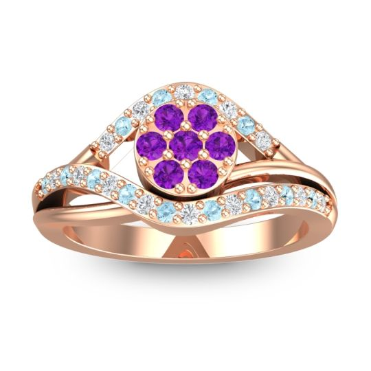 Amethyst Statement Floral Pave Vitati Ring with Diamond and Aquamarine in 18K Rose Gold