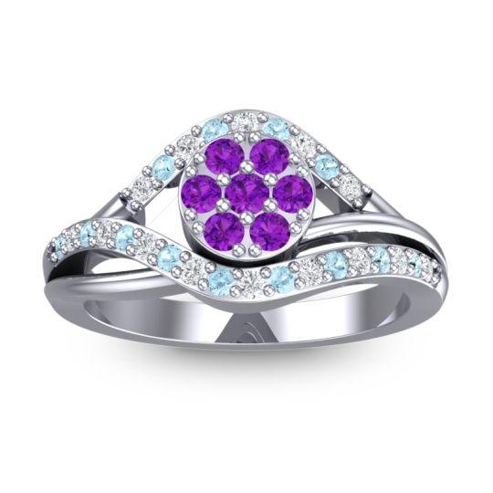 Amethyst Statement Floral Pave Vitati Ring with Diamond and Aquamarine in Platinum