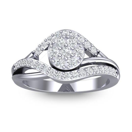 Statement Floral Pave Vitati Diamond Ring in 14k White Gold