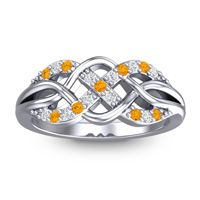 Simple Pave Sautri Citrine Ring with Diamond in 14k White Gold