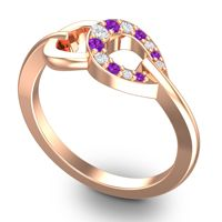 Petite Rudhi Amethyst Ring with Diamond in 14K Rose Gold