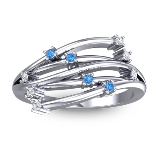 Petite Cayana Swiss Blue Topaz Ring with Diamond in 14k White Gold