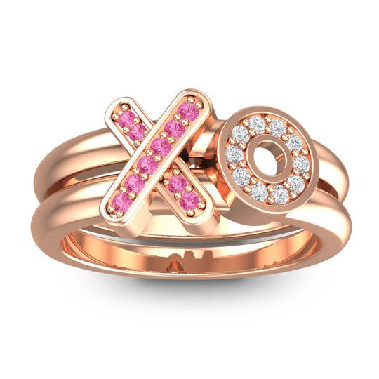 Simple Pave Rihati Pink Tourmaline Ring with Diamond in 14K Rose Gold