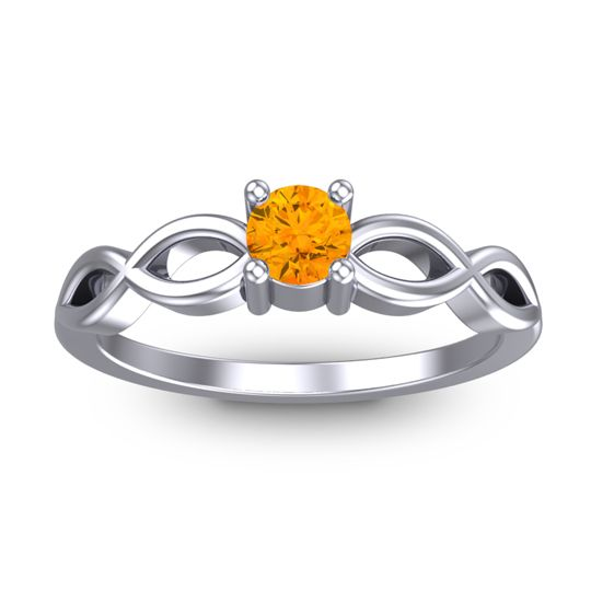 Citrine Petite Kezasuci Ring in 14k White Gold
