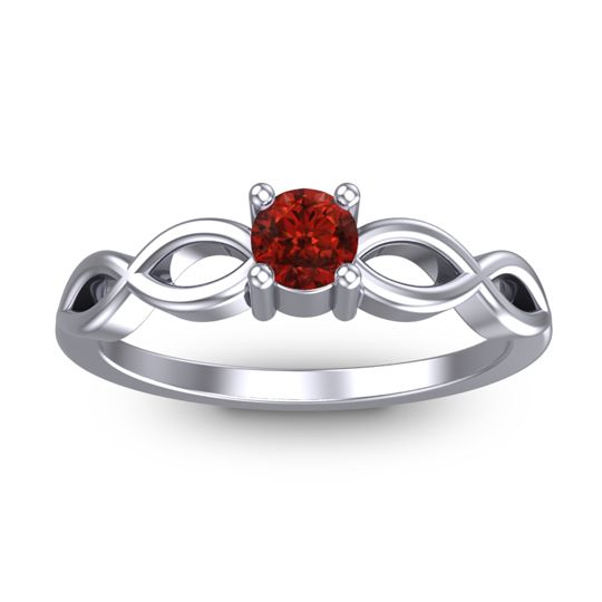 Garnet Petite Kezasuci Ring in 14k White Gold