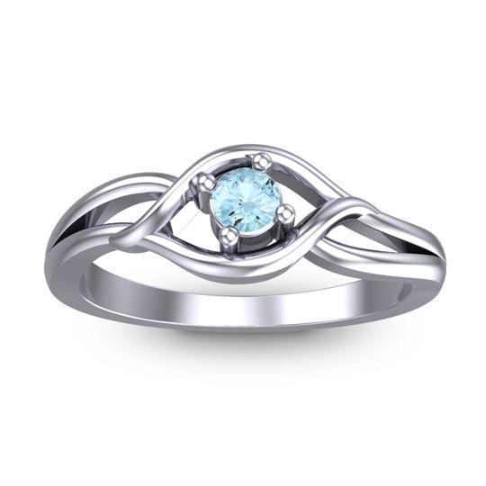 Aquamarine Petite Paka Ring in 14k White Gold