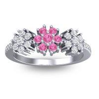 Statement Floral Pave Makaranda Pink Tourmaline Ring with Diamond in 14k White Gold