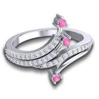Petite Pave Vaktra Pink Tourmaline Ring with Diamond in 14k White Gold