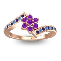 Simple Floral Pave Utpala Amethyst Ring with Blue Sapphire and Swiss Blue Topaz in 14K Rose Gold