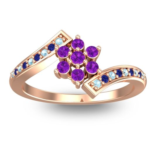 Simple Floral Pave Utpala Amethyst Ring with Aquamarine and Blue Sapphire in 14K Rose Gold