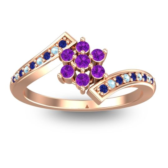Simple Floral Pave Utpala Amethyst Ring with Blue Sapphire and Aquamarine in 14K Rose Gold
