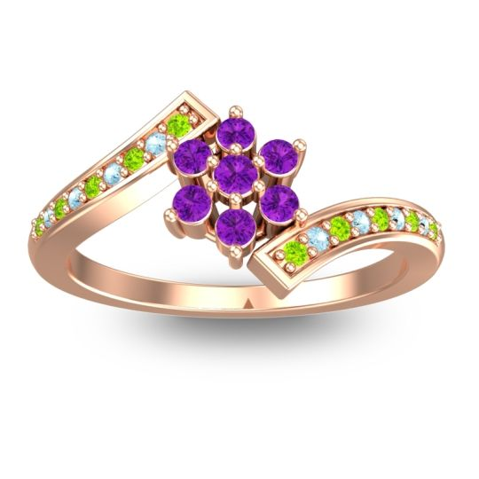 Simple Floral Pave Utpala Amethyst Ring with Peridot and Aquamarine in 14K Rose Gold