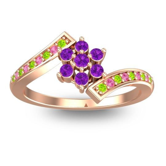 Simple Floral Pave Utpala Amethyst Ring with Peridot and Pink Tourmaline in 14K Rose Gold