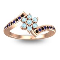 Simple Floral Pave Utpala Aquamarine Ring with Black Onyx and Blue Sapphire in 18K Rose Gold