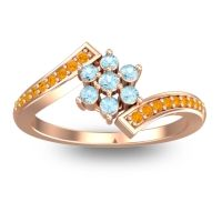 Simple Floral Pave Utpala Aquamarine Ring with Citrine in 18K Rose Gold