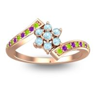 Simple Floral Pave Utpala Aquamarine Ring with Peridot and Amethyst in 14K Rose Gold