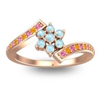 Simple Floral Pave Utpala Aquamarine Ring with Pink Tourmaline and Citrine in 14K Rose Gold