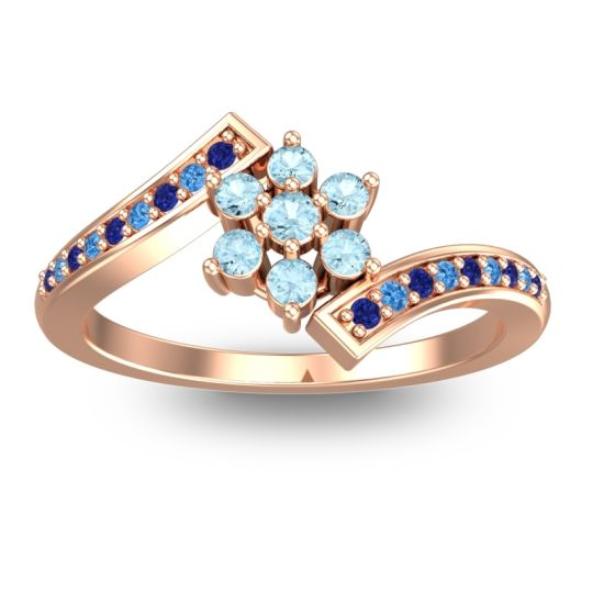 Simple Floral Pave Utpala Aquamarine Ring with Blue Sapphire and Swiss Blue Topaz in 14K Rose Gold