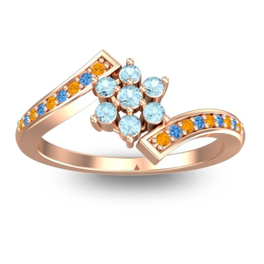 Simple Floral Pave Utpala Aquamarine Ring with Citrine and Swiss Blue Topaz in 18K Rose Gold