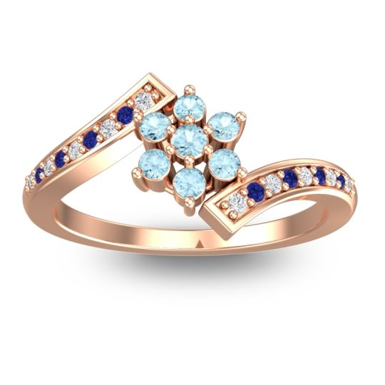 Simple Floral Pave Utpala Aquamarine Ring with Diamond and Blue Sapphire in 18K Rose Gold