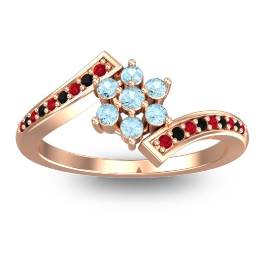 Simple Floral Pave Utpala Aquamarine Ring with Ruby and Black Onyx in 18K Rose Gold