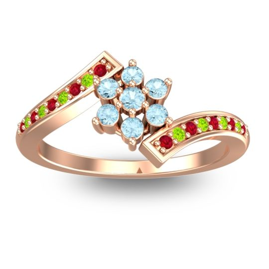 Simple Floral Pave Utpala Aquamarine Ring with Ruby and Peridot in 14K Rose Gold