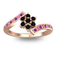 Simple Floral Pave Utpala Black Onyx Ring with Amethyst and Pink Tourmaline in 14K Rose Gold