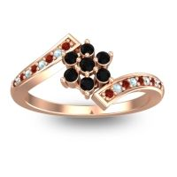 Simple Floral Pave Utpala Black Onyx Ring with Garnet and Aquamarine in 14K Rose Gold