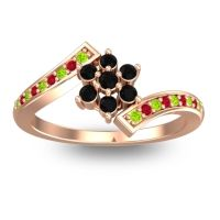Simple Floral Pave Utpala Black Onyx Ring with Peridot and Ruby in 14K Rose Gold