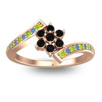 Simple Floral Pave Utpala Black Onyx Ring with Peridot and Swiss Blue Topaz in 14K Rose Gold