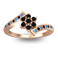 Simple Floral Pave Utpala Black Onyx Ring with Swiss Blue Topaz in 14K Rose Gold